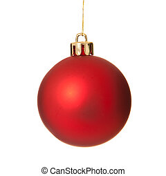 A red christmas tree ball ornament - One single red...