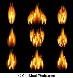 Set of flame - Flames of different shapes on a black...