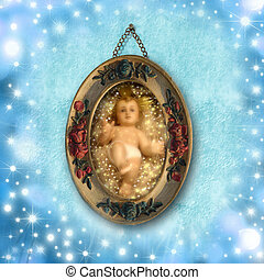 Child Jesus Christmas Cards - old picture of baby Jesus...