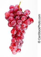 Bunch of red grapes on a white background.