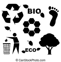 bio eco icon symbols - silhouette illustration