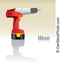 Red Cordless Drill realistic illustration