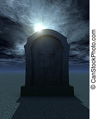 cemetary - gravestone with christian cross at night - 3d...