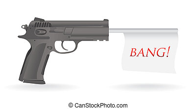gun with bang flag illustration