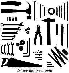 -, 工具, 黑色半面畫像,  dyi, 插圖