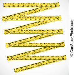 測量, 工具,  -, 米, 木頭, 插圖