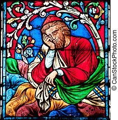 Sleeping Saint - Stained glass decoration in Notre Dame...
