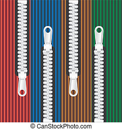 eps10 closed zipper on 4 color manchester textile background