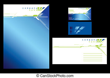 Blue stationary design in editable vector format
