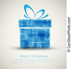 Simple Christmas card with a blue gift - Simple Christmas...