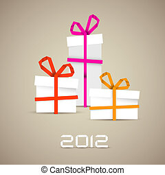 Simple vector christmas gifts made from paper stripes