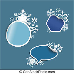 Vector winter Labels, stickers, pointers, tags