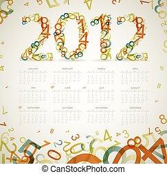 Vector Vintage retro calendar 2012 - Vector Vintage retro...