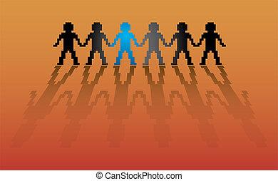 3d humans in pixel - illustration