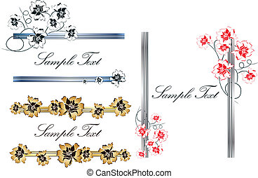 Borders and frames tamplates - Vector of three floral...