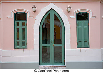 Pink door and window
