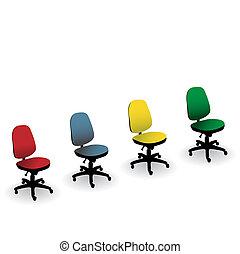 escritório, cor,  -, isolado, Ilustração, Quatro, cadeira, branca