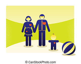 symbols of basic family outdoor - illustration