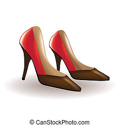 Red high heel women shoes - isolated illustration