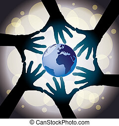 six human cooperative hands around the globe - illustration