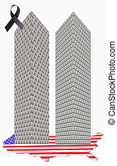 two towers - Two towers of one dollar bills on a map of the...