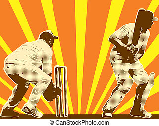 cricket player batsman batting retro - graphic design...