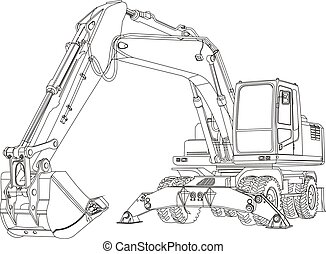 excavator - Contour excavating machine isolated on white...