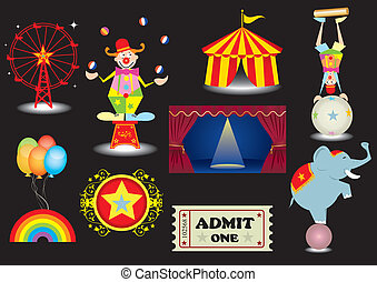 circus set - A circus set with various elements.(a clown,a...