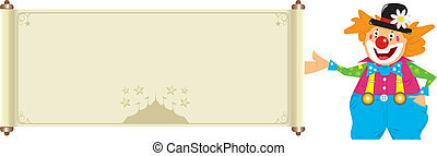 clown with banner - Illustration of a happy clown with a...