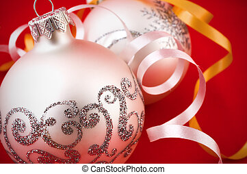 Silver Christmas baubles