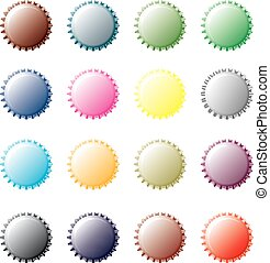 Multicolor bottle Caps - A set of colored bottle caps on...