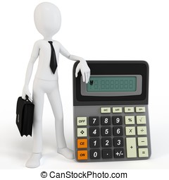 3d man businessman with calculator on white background