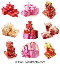 Set of various gifts isolated on white background