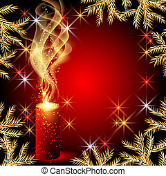 Candles and stars - Christmas background with candles and...