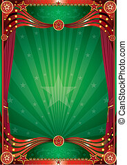 Magic green curtain background - A green background with red...