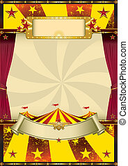 old cool circus - A circus poster with a big top and...