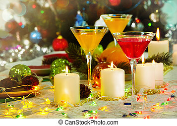 Festive table - Image of holiday table with cocktails,...