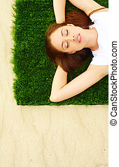 Summer comfort - Portrait of pretty young lady relaxing on...