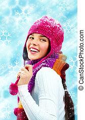 Joyful beauty in winter clothes