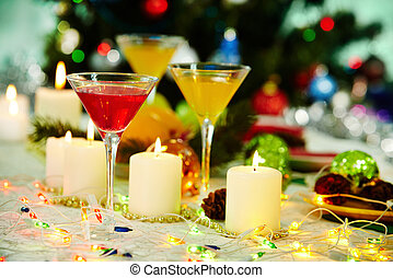 Christmas lights - Image of holiday table with cocktails,...