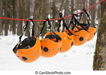 The orange helmets - climbing equipment
