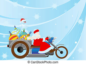 Santa on a motorcycle driven by Christmas decorations