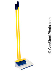 Broom and dustpan on a white background
