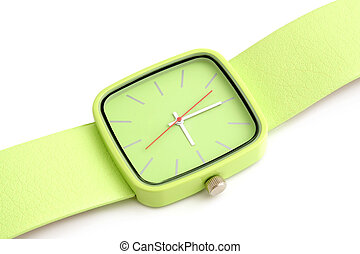 Green wristwatch on a white background