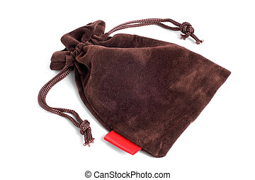 Brown pouch on a white background