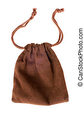 Brown pouch isolated on a white background