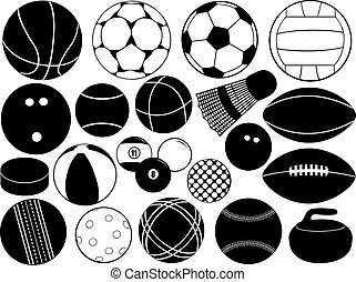Different game balls isolated on white