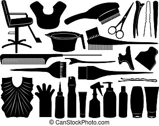 Equipment for hair dyeing isolated on white