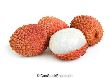 Fresh lychees on the white background