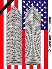 two towers - Two towers of one dollar bills with a flag of...